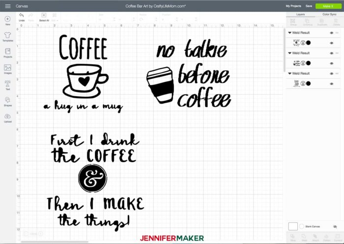 Coffee Bar Art for Reverse Canvas Projects in Cricut Design Space