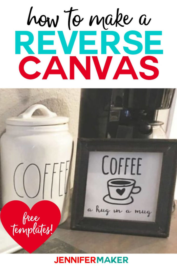 Make reverse canvas miniature artwork for your coffee bar or coffee station with these free SVG cut files to use with your Cricut or Silhouette cutting machine. Coffee Bar decor is very popular and you can make your own framed artwork easily with this tutorial.  #cricut #cricutmade #cricutmaker #cricutexplore #svg #svgfile