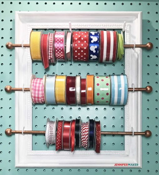 DIY Ribbon Organizer and Storage Frame for your Organized Craft Room! | #craftroom #organization #diy | cute pegboard accessires | ribbon rod