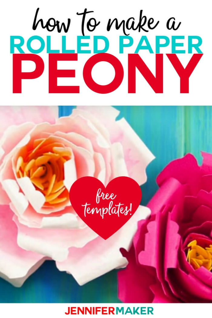 Learn how to make a rolled paper peony  flower with this step by step tutorial and free cut files.  #papercrafts #papercrafting #cricutprojects