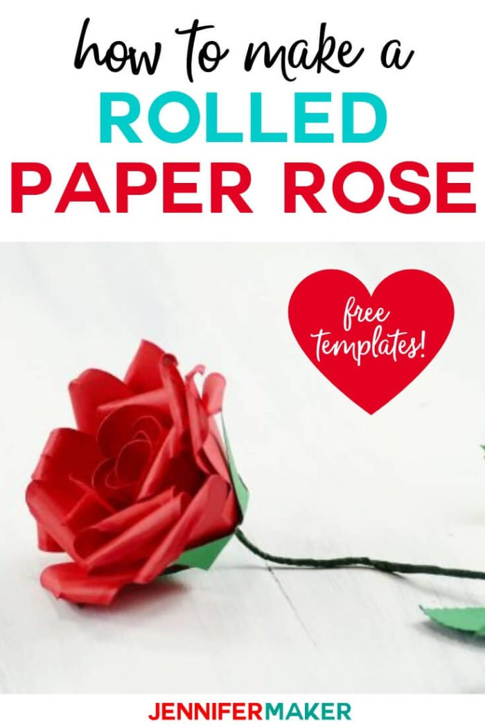 Learn how to make a rolled paper rose that looks realistic with this step by step tutorial and free svg cut files.  #cricut #cricutmade #cricutmaker #cricutexplore #svg #svgfile
