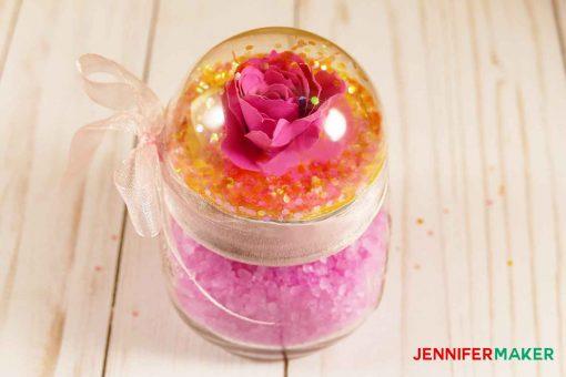 Rose Gold Glitter Globe Mason Jar Tutorial