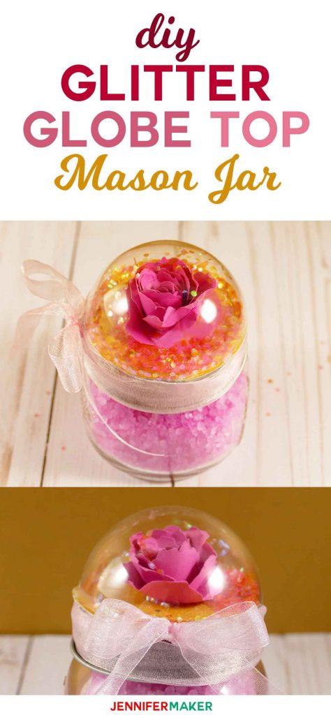 snow globe top mason jars rose glitter globe   jennifer