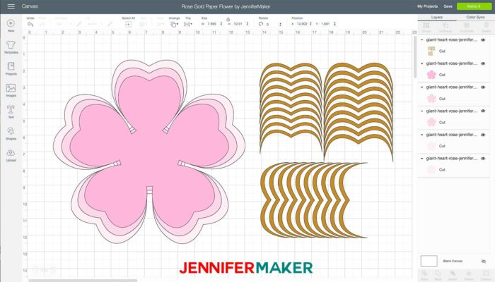 Pink flower design and gold edging uploaded to Cricut Design Space to make a rose gold paper flower
