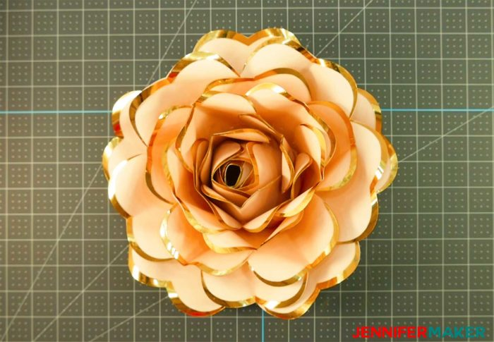 DIY Rose Gold Paper Flower with foil-edged heart-shaped petals - free template & tutorial #svgcutfile #cricut #cricutmade #paperflower