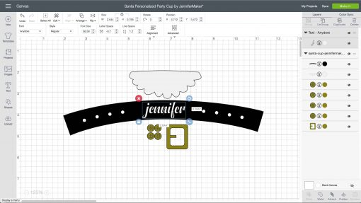 Personalizing the belt in Cricut Design Space for your Santa Cup