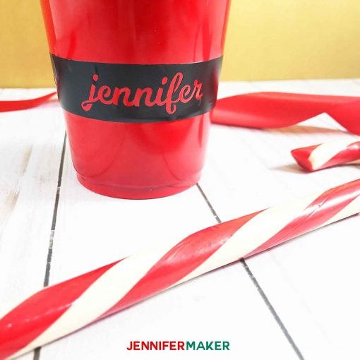 My name on Santa's belt on my Personalized Party Cup for Christmas!