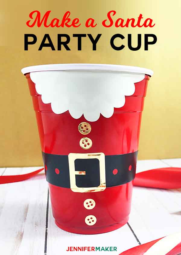 DIY Santa Personalized Party Cups | Vinyl Christmas Decals for Party Cups | Free Cricut SVG Cut Files | Santa Claus Party #partydecorations #partycups
