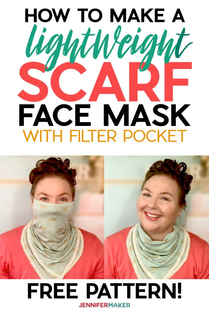 Make a Pretty Scarf Face Mask with a Free Pattern and Tutorial #sewing #facemask #scarf