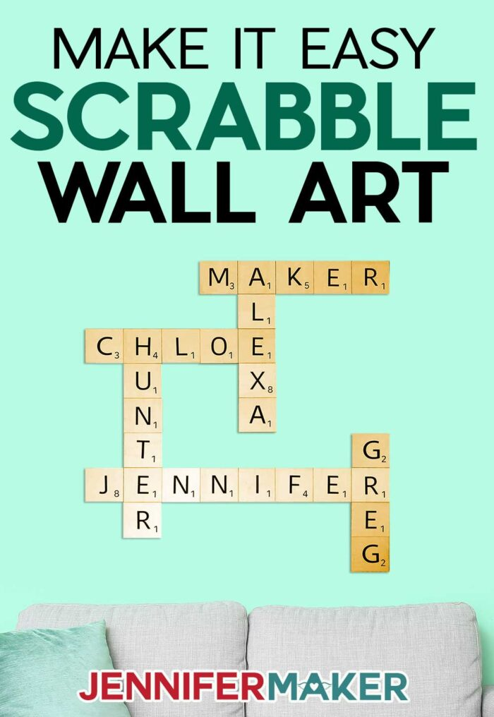 Make large Scrabble tile wall art with wood and vinyl easy! Free SVG cut file and full instructions to make this on your Cricut at home!