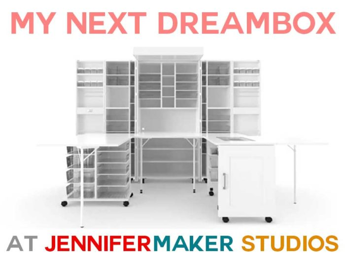Jennifer Maker's next DreamBox - A White Shaker DreamBox with the Sew Station and Dream Cart