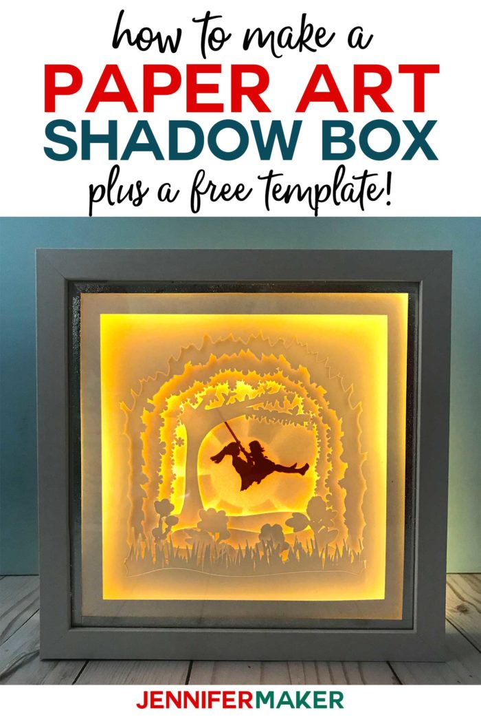 A lighted shadow box paper art template of a mother and daughter on a tree swing