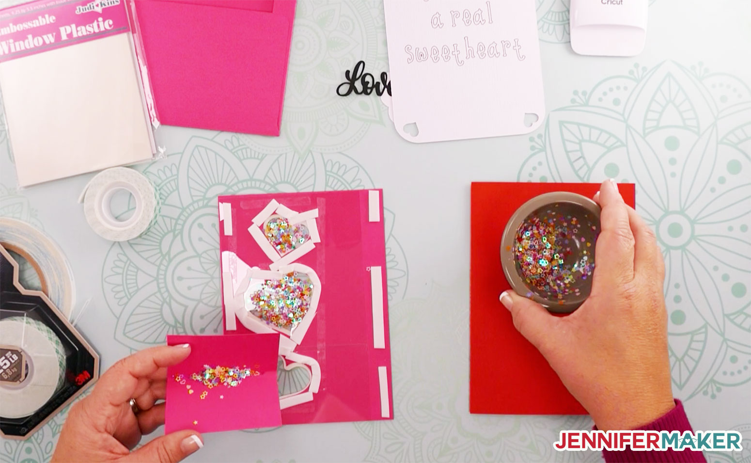 Pouring confetti glitter into the shaker card well