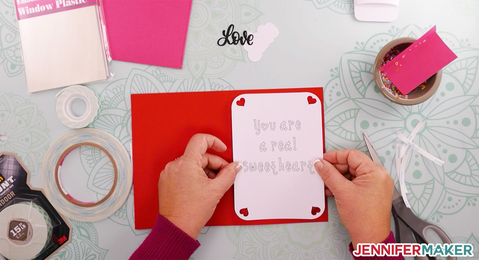 Attaching the sentiment to the inside of the shaker card
