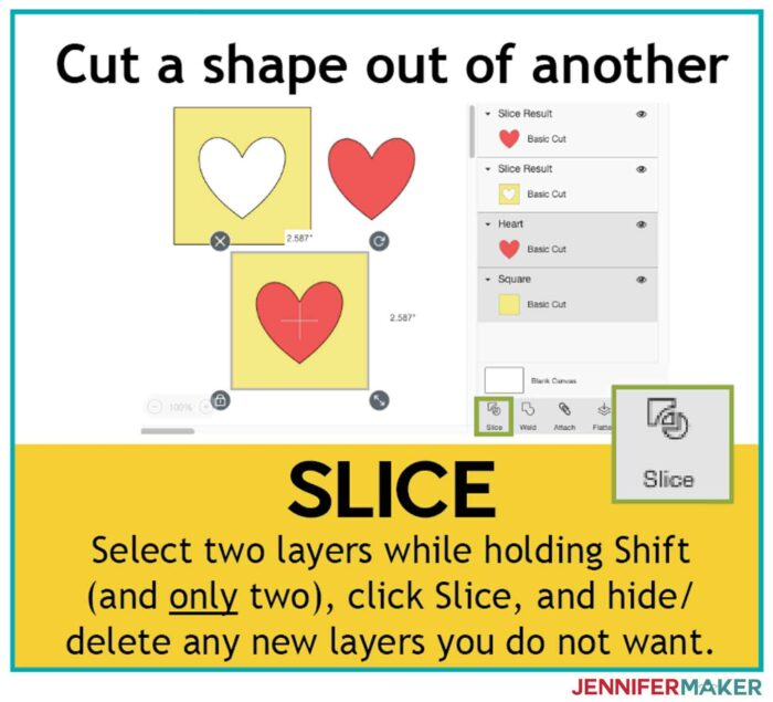 Use Slice when you want to cut a shape out of another