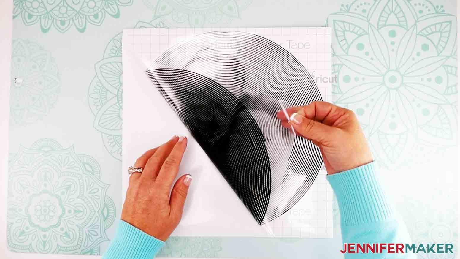 peeling up vinyl off carrier sheet