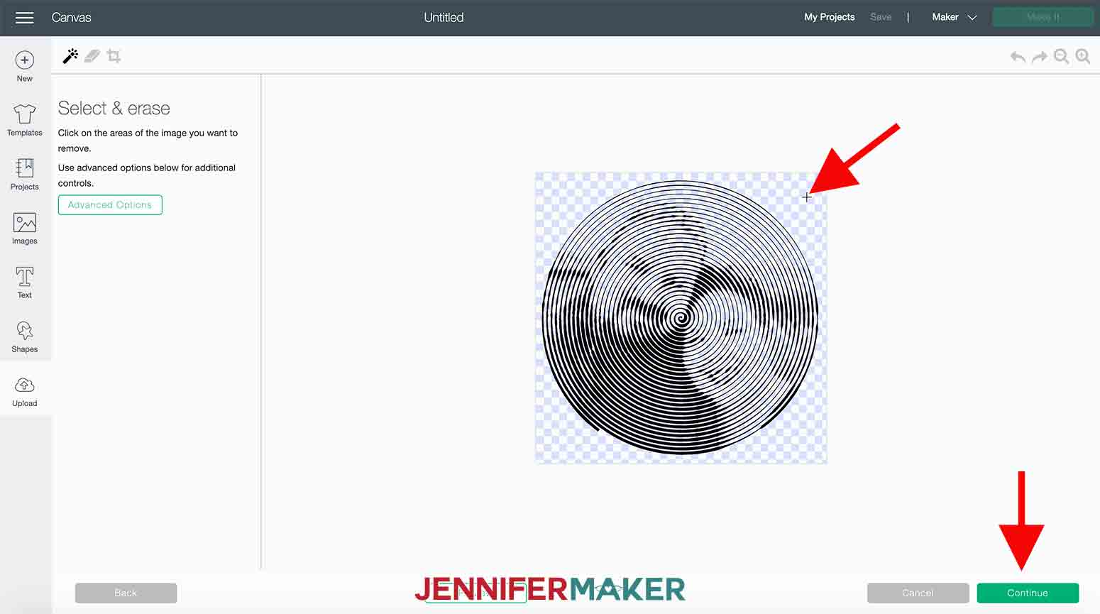 shows cricut design space screen with arrow pointing to new transparent background