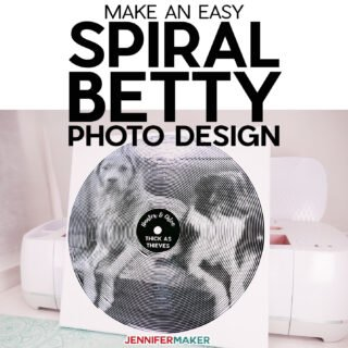 Easy Spiral Betty Photo Design Tutorial with center design and ideas for usage! #cricut #vinyl #photos