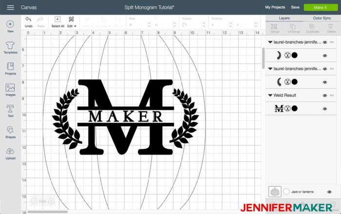 Add some laurel branches in Cricut Design Space to begin the split monogram tutorial