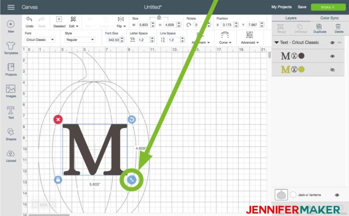 Resize your initial in Cricut Design Space to begin the split monogram tutorial