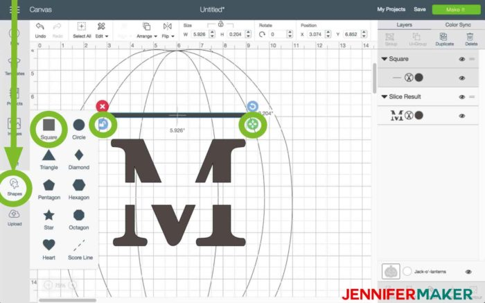 Choose a square in Cricut Design Space to begin the split monogram tutorial