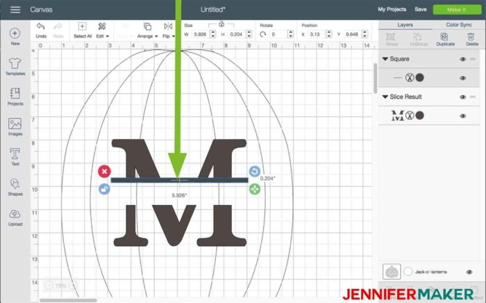 Move the rectangle into position in Cricut Design Space to begin the split monogram tutorial