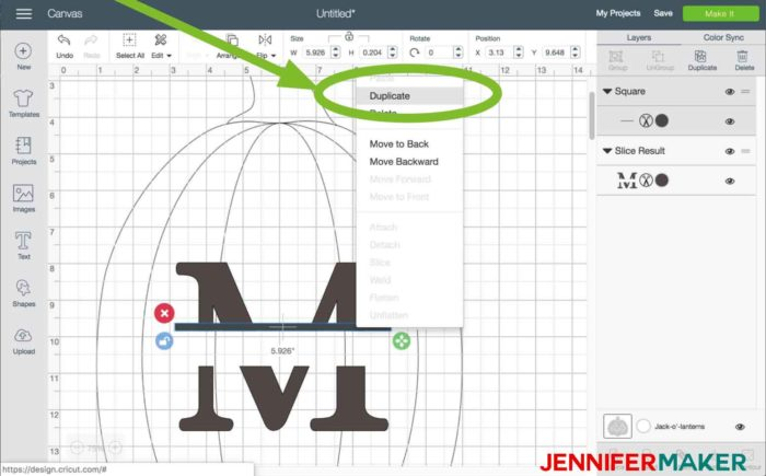Duplicate the line in Cricut Design Space to begin the split monogram tutorial