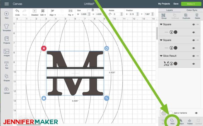 Select everything and click Weld in Cricut Design Space to begin the split monogram tutorial