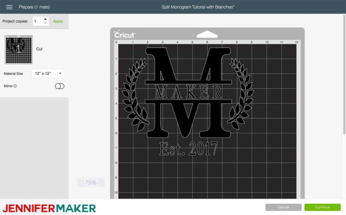 Mat Preview in Cricut Design Space to begin the split monogram tutorial