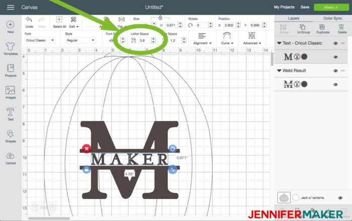Change the letter space in Cricut Design Space to begin the split monogram tutorial
