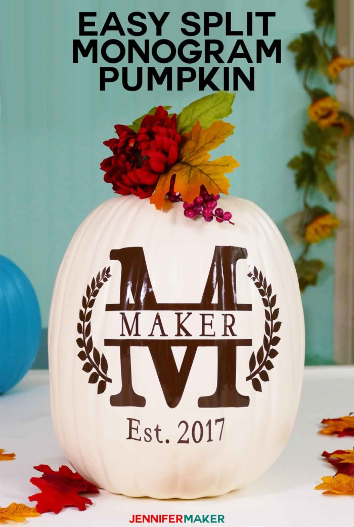Make an Easy Split Monogram in Cricut Design Space with this Step-by-Step Tutorial | Monogrammed Pumpkin | #cricut #cricutdesignspace #svgcutfile #tutorial #autumn