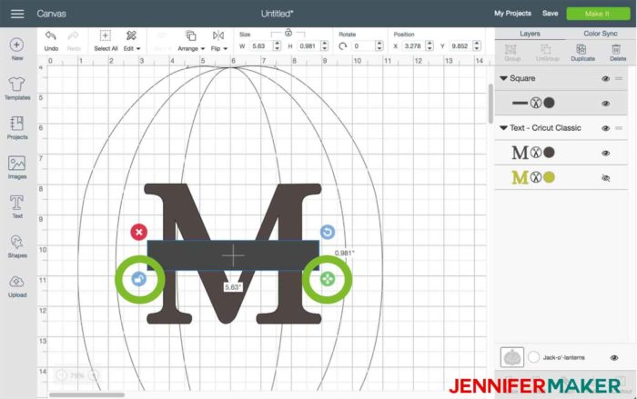 Resize the rectangle in Cricut Design Space to begin the split monogram tutorial