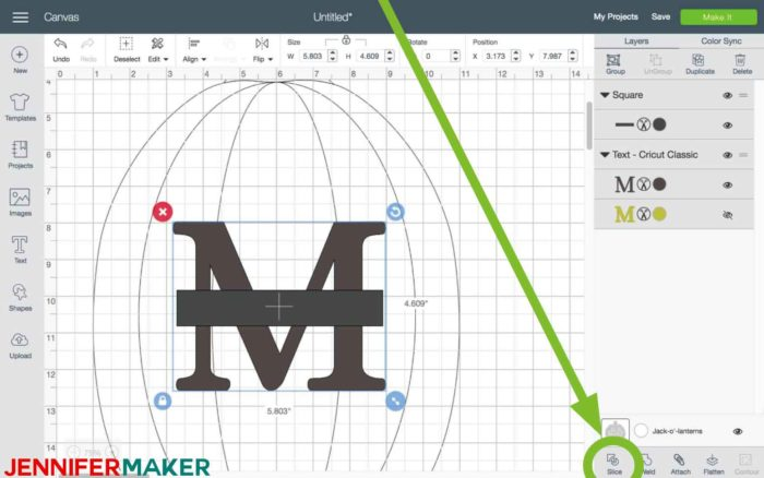 Click Slice in Cricut Design Space to begin the split monogram tutorial