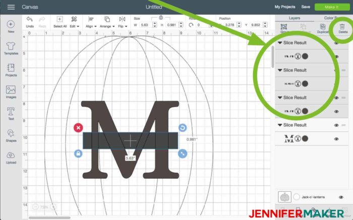 Delete your Slice Result centers in Cricut Design Space to begin the split monogram tutorial