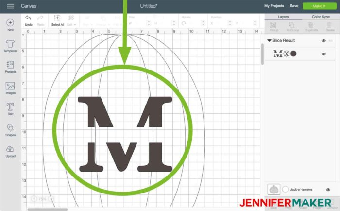 The initial starting to take shape in Cricut Design Space to begin the split monogram tutorial