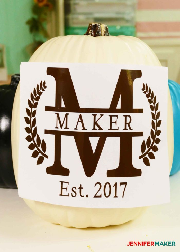 Testing the vinyl on the pumpkin for the split monogram tutorial