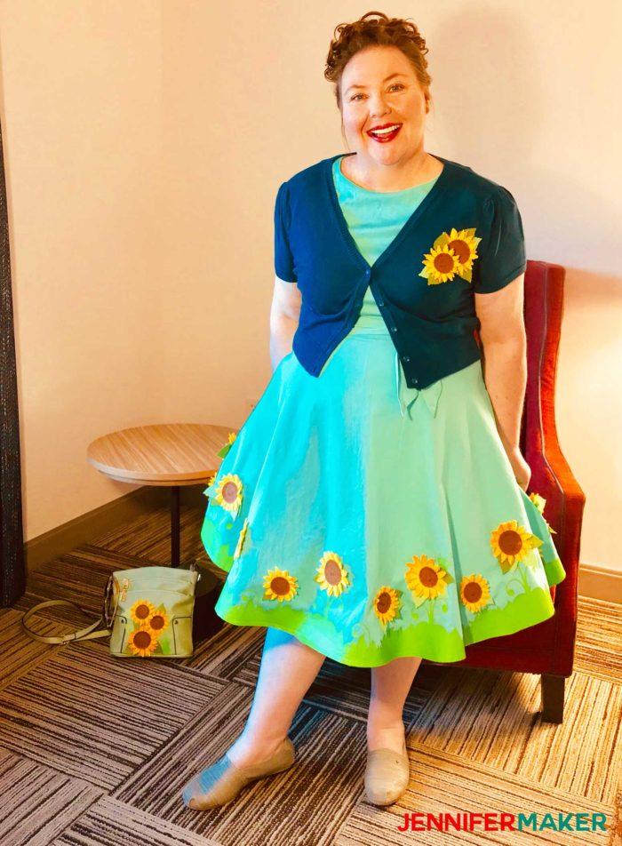 Jennifer Maker wearing her Cricut sunflower dress