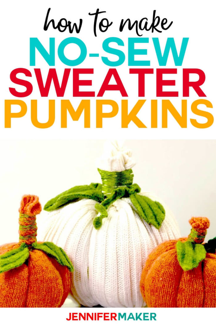 No-Sew sweater pumpkins are a quick and easy home decor project to help your home feel more like fall! Use an old sweater you already have on hand or pick one up at a thrift store to complete this 30 minute project. #diy #tutorial #craftprojects #homedecor
