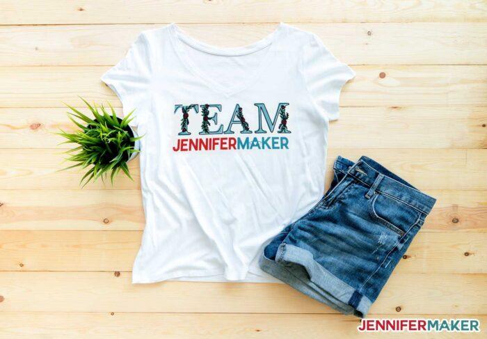 Team JenniferMaker sublimated shirt made with the Epson EcoTank 2720 sublimation printer