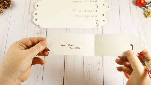 Write your gift information inside the L-shaped cuts on your tear-away reveal gift tag