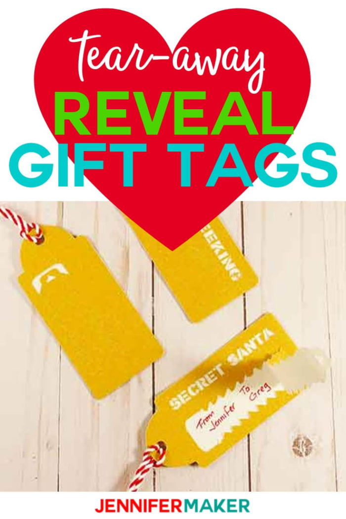Learn how to make tear-away reveal gift tags with this step-by-step tutorial and free SVG cut file.  #cricut #cricutmade #cricutmaker #cricutexplore #svg #svgfile