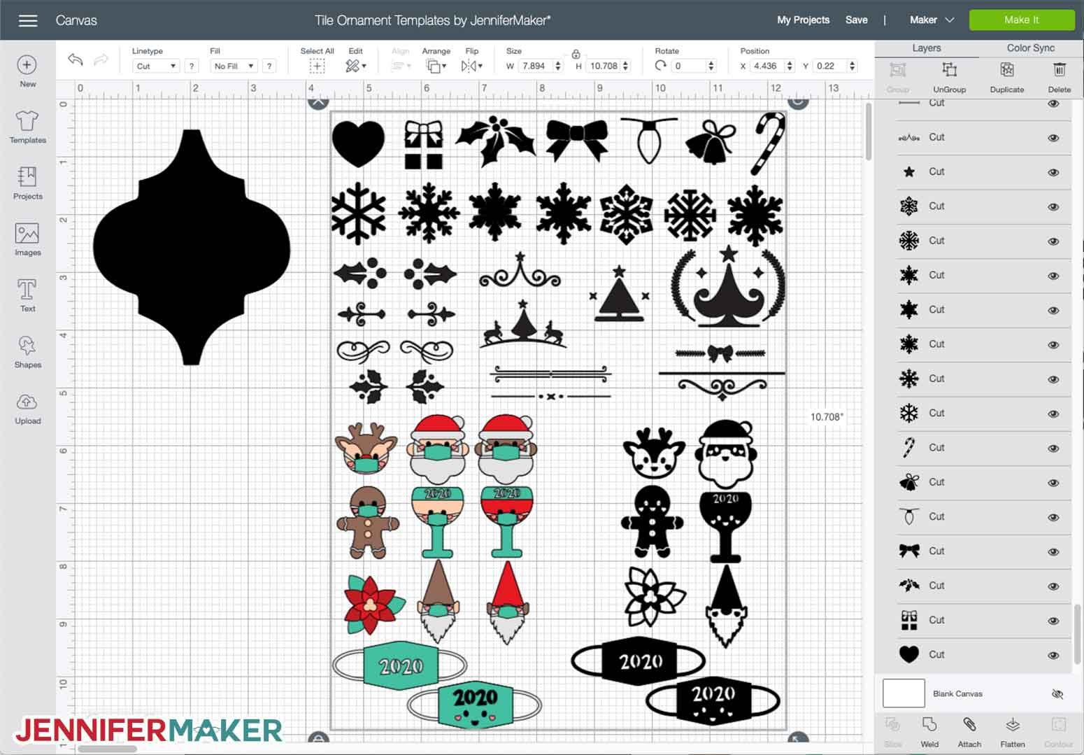 Free tile ornament designs uploaded to Cricut Design Space