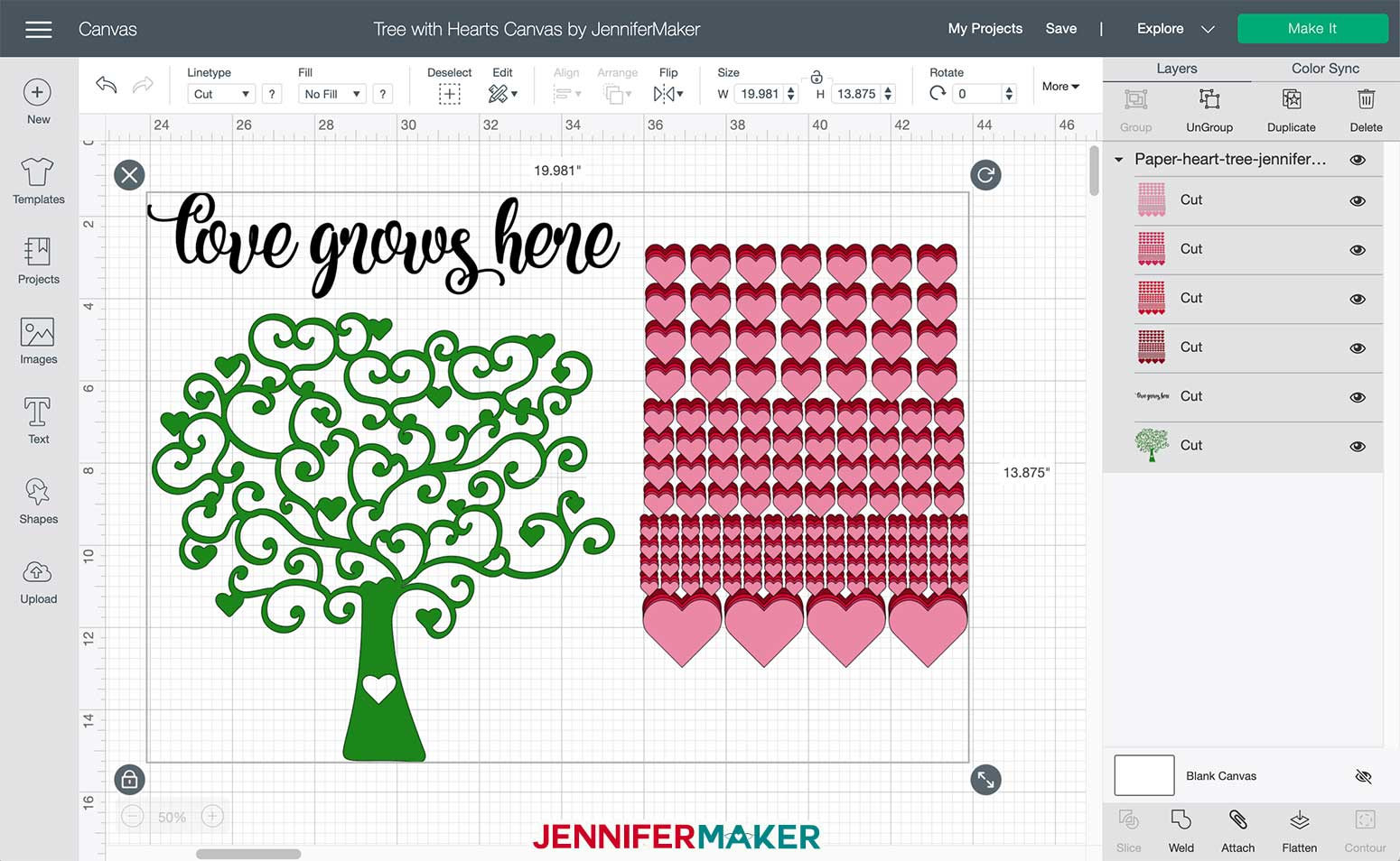 Tree with hearts svg uploaded to Cricut Design Space