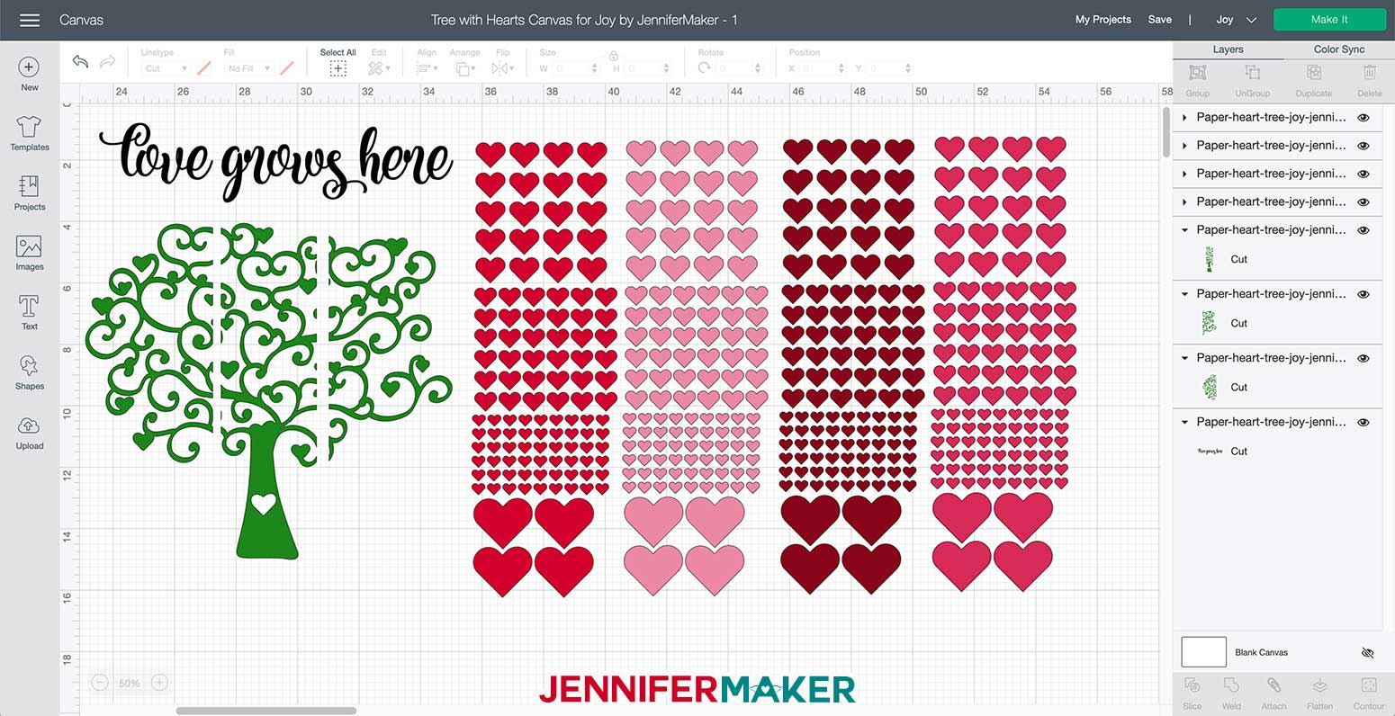 Tree with hearts svg uploaded to Cricut Design Space and sized for the Cricut Joy