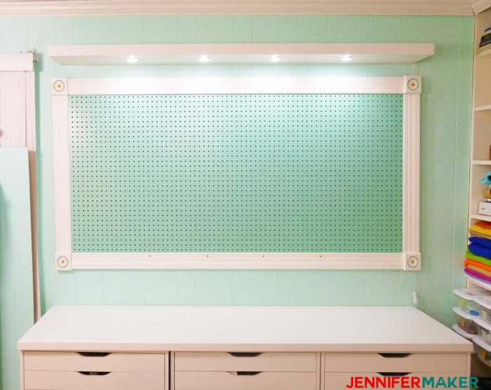 The installed and lighted floating shelf - how we installed under shelf lighting cheap and easy