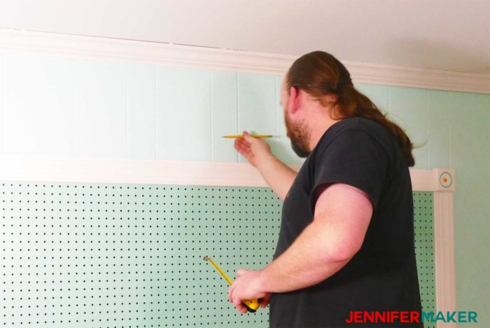 Marking the wall for the shelf bracket hardware - how to install under shelf lighting cheap and easy