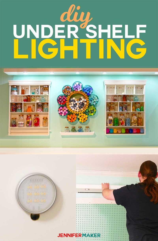 How to install DIY under shelf lighting cheap and easy! #lighting #diy #homedecor