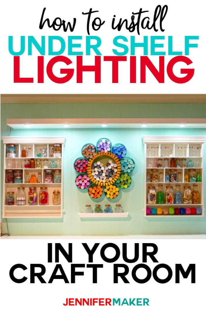 Learn how to easily and inexpensively install under shelf lighting. Illuminate your craft room or anywhere else you need extra light in your home! I have included a step-by-step tutorial.  #diy #tutorial #craftroom