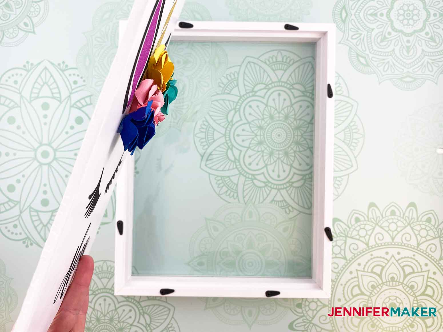Insert the foam core into the frame for the personalized unicorn frame