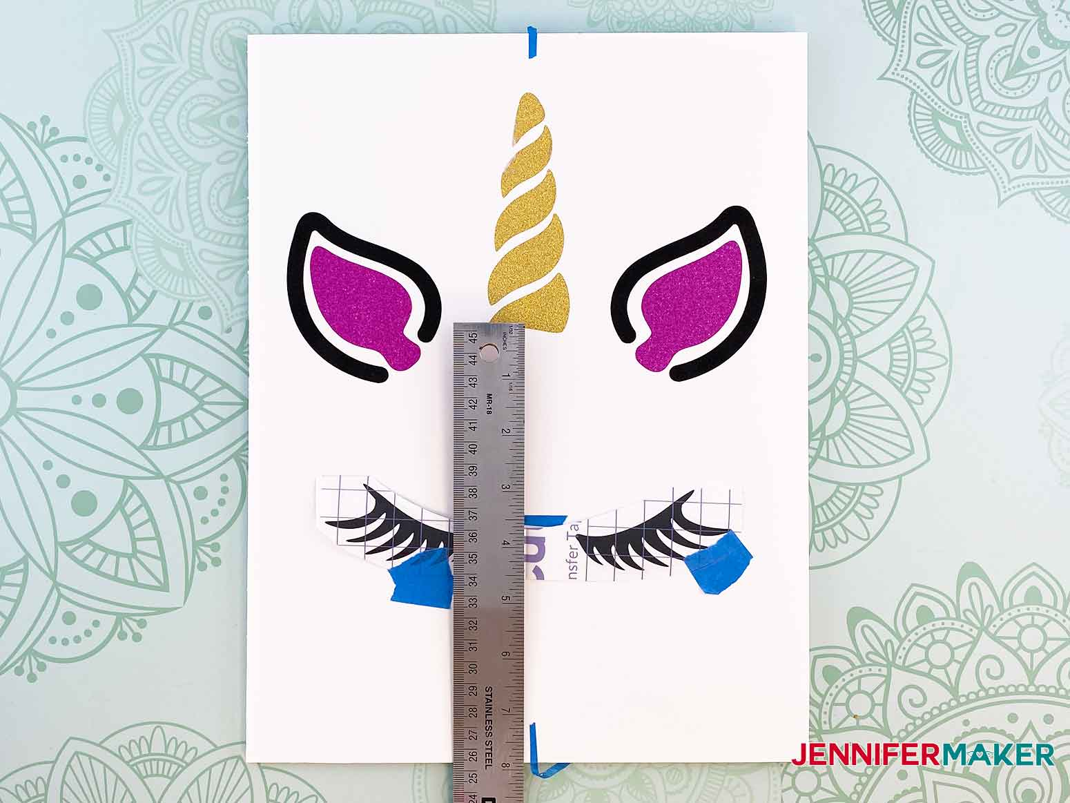 Center and measure placement for the unicorn eyelashes for my personalized unicorn frame